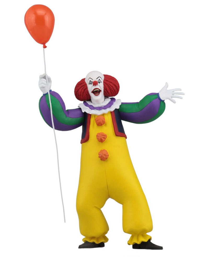 "This is a Toony Terrors It 1990 miniseries Pennywise the clown posable NECA 6"" action figure, who is wearing a yellow clown suit, holding a red ballon and who has a red nose."