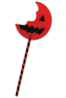 This is a bitten lollipop from Sam of Trick 'r Treat and it is and orange pumpkin with a black mouth and eye, with a black and orange striped stick.