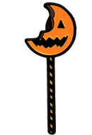 This is a Trick 'r Treat Sam bitten lollipop enamel pin and it is an orange pumpkin with a black mouth and eye, and a black and orange striped stick.