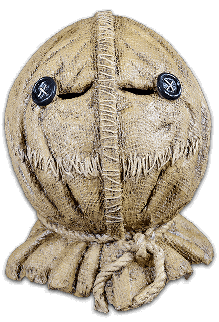 This is a Trick 'r Treat Sam burlap mask and it is tan with stitching, a rope and button eyes.