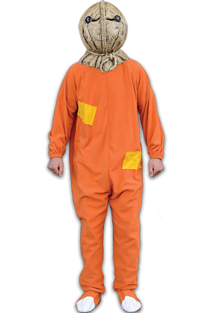 This is a Trick 'r Treat Sam costume and it is an orange jumpsuit with two yellow patches and it goes with a burlap mask.