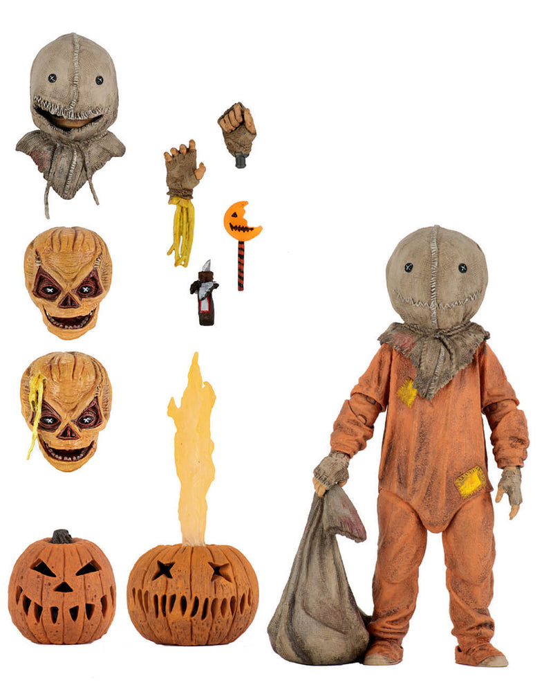 "This is a Trick R Treat Sam NECA 7"" ultimate action figure with 3 heads, 2 pumpkins, 2 hands, knife and bitten lollipop."