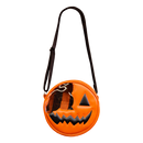 This is a Trick 'R Treat Sam bitten lollipop purse and it is orange, with a black eye and smile and has a black strap.