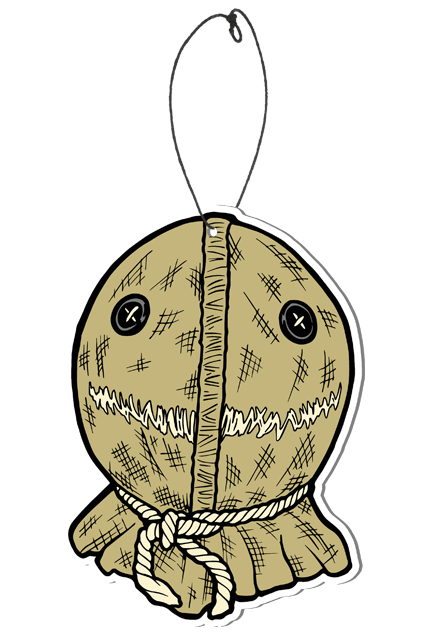 This is a Trick 'r Treat Sam air freshener and he has a burlap mask with button eyes and a string to hang it.