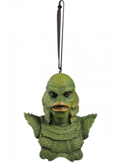 This is a Universal Monsters Creature From the Black Lagoon ornament that is a green monster with big lips and a ribbon hanger.
