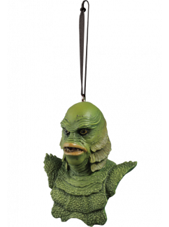 This is a Universal Monsters Creature From the Black Lagoon ornament that is a green monster with big lips, scales, fins and a ribbon hanger.