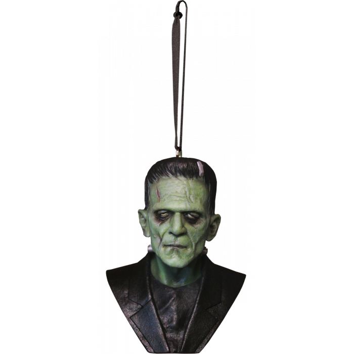 This is a Universal Monsters Frankenstein ornament and he is green with cuts and wearing a black jacket.