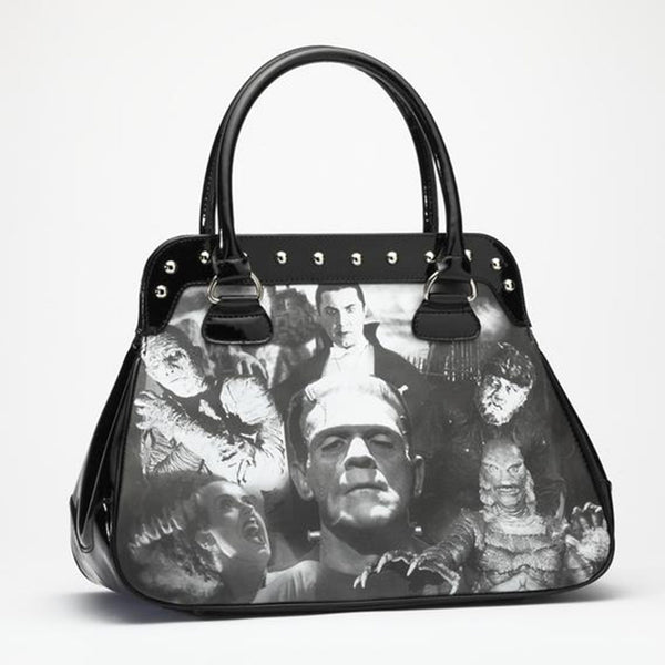 This is a Universal Monsters handbag purse and it is black with studs and two handles and has Frankenstein, Mummy, Dracula, Wolfman, Bride and Creature From the Black Lagoon.