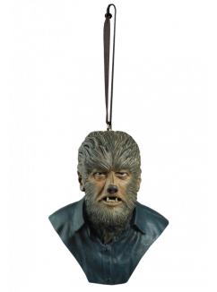 This is a Universal Monsters Wolfman ornament of a monster with fur on his face and neck, sharp teeth and a button up shirt.