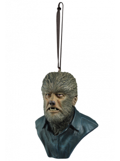 This is a Universal Monsters Wolfman ornament of a man with fur on his face and neck, pointy teeth and a button up blue shirt.