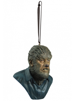 This is a Universal Monsters Wolfman ornament of a man with fur on his face and neck, pointy teeth and a button up grey shirt.