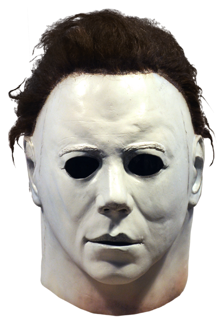 This is a Halloween 1978 Michael Myers mask and he has a white face and brown hair.