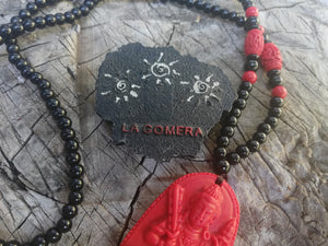 Buddha Cinnabar Natural Stone Carved Necklace - Protection Amulet-Spiritual Talisman Present- Holistic Jewelry- Special Gift - LifeIsPureMagic