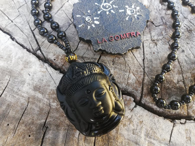 Guanyin Buddha Black Obsidian Natural Stone Carved Necklace - Protection Spiritual Amulet Gift- Meditation Jewelry - LifeIsPureMagic