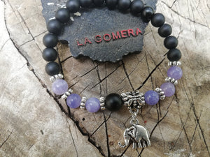 Handmade Flexible Bracelet Balance Power and Manifestation Onyx Angelite Stones Elephant - LifeIsPureMagic