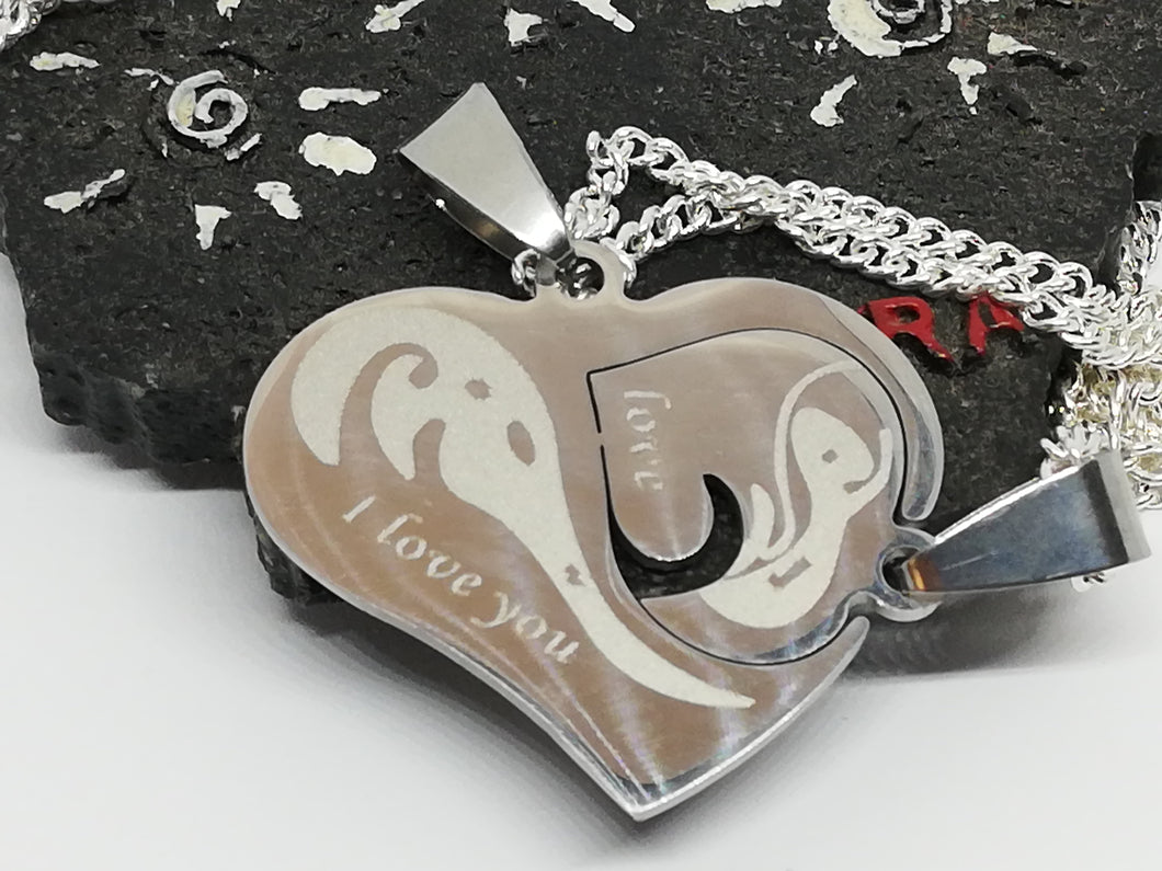 Couple Jewelry Puzzle Set Silver 925 Necklace Half Hearts Stainless Steel Pendants Best Friends Gift - LifeIsPureMagic