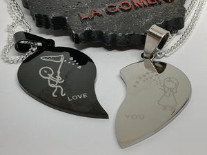 Couple Set Silver 925 Necklace Half Hearts Stainless Steel Pendants Love Gift Girlfriend Present Black Silver Boy Girl - LifeIsPureMagic