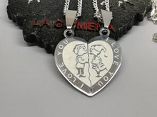Couple Puzzle Set Silver 925 Necklace Half Hearts Stainless Steel Pendants Perfect Love Gift - LifeIsPureMagic