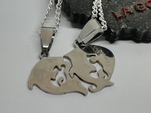 Couple Puzzle Dolphin Set Silver 925 Necklace Half Hearts Stainless Steel Pendants - LifeIsPureMagic