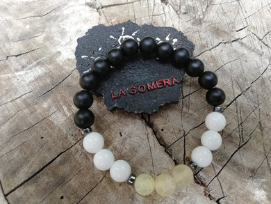 Handmade Flexible Bracelet Chakra Healing Compassion Agate Hematite Onyx Natural Stones - LifeIsPureMagic