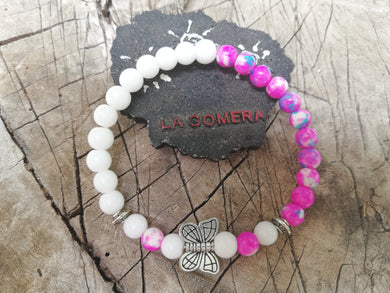 Handmade Flexible Bracelet Hope Calm and Dreams Agate Jade Stones Butterfly - LifeIsPureMagic