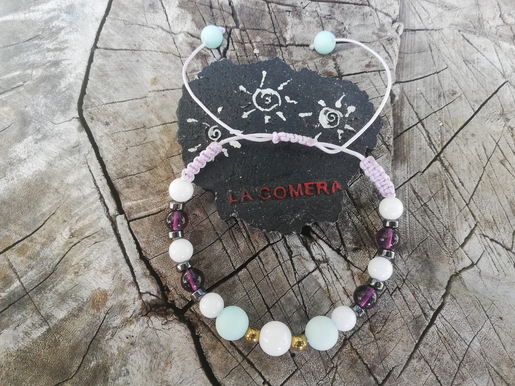 Handmade Bracelet Braided Amazonite Agate Amethyst Hematite Natural Stones Goddess Bracelet Truth Honesty Gift - LifeIsPureMagic