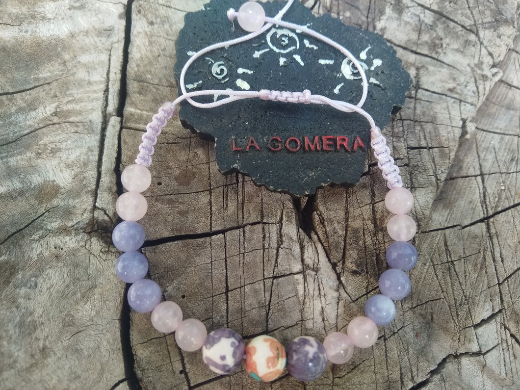 Handmade Braided Bracelet Angelite Rain Flower Jade Pink Quartz Natural Stones - LifeIsPureMagic