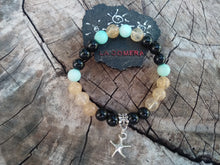 Handmade Flexible Bracelet Financial Success Good Luck Power Amazonite Citrine Onyx Stones Star Fish Symbol - LifeIsPureMagic