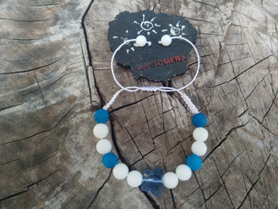 Handmade Braided Bracelet Blue Lava Natural Stones White Agate Stones Crystal Butterfly - LifeIsPureMagic