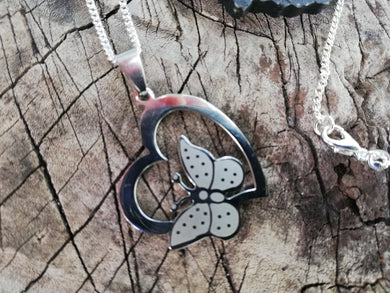 Stainless Steel Butterfly Heart Pendant Silver 925 Necklace - Love Talisman Jewelry - Feng Shui Necklace Gift - LifeIsPureMagic