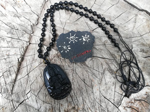 Black Obsidian Natural Stone Carved Buddha Necklace - Protection Amulet-Spiritual Talisman Present- Holistic Jewelry - LifeIsPureMagic