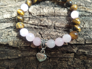 Handmade Bracelet Gemstones-Tiger Eye Pink Quartz Love Heart Symbol Charm- Personalized Custom Jewelry- Unique Bracelet- BUY 1 GET 1 FREE - LifeIsPureMagic