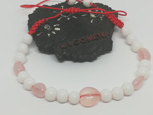 Unique Handmade Braided Bracelet Agate Pink Quartz Stones Heart Symbol - LifeIsPureMagic