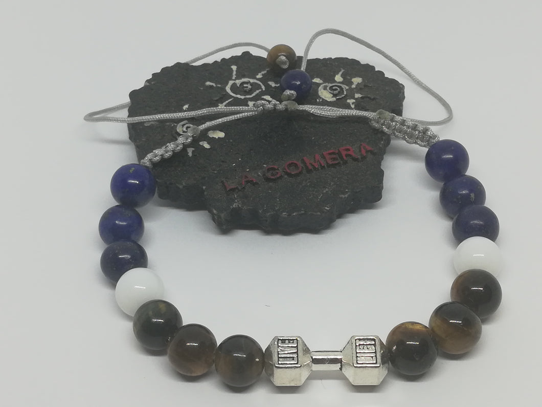 Unique Handmade Braided Bracelet Agate Tiger Eye Lapis Lazuli Stones Barbell Dumbbell Fitness - LifeIsPureMagic
