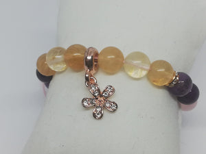 Unique Handmade Braided Bracelet Citrine Amethyst Pink Quartz Stones Flower Charm - LifeIsPureMagic