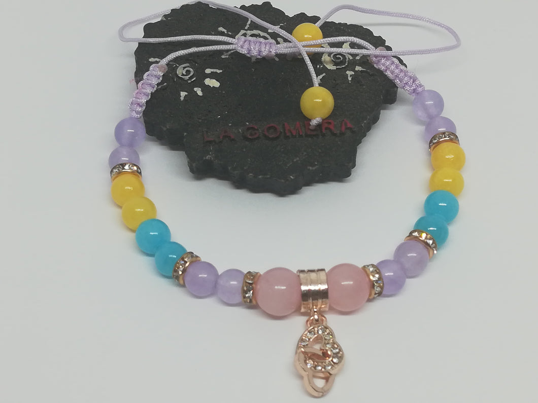 Unique Handmade Braided Bracelet Pink Quartz Jade Stones Hearts Charm - LifeIsPureMagic