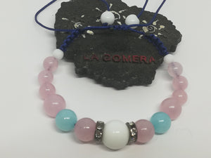 Unique Handmade Braided Bracelet Agate Amazonite Pink Quartz Natural Stones - LifeIsPureMagic