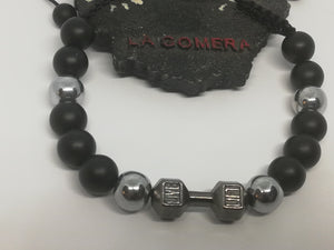 Unique Handmade Braided Bracelet Onyx Hematite Natural Stones Barbell Dumbbell Fitness - LifeIsPureMagic