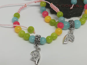 Set of Unique Handmade Braided Bracelet Amazonite Jade Natural Stones Mother Daughter Charms - LifeIsPureMagic