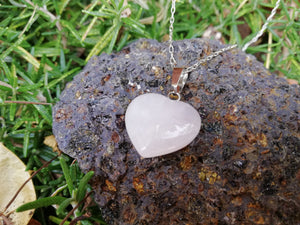 Happiness and Love Pink Quartz Heart Stone Silver 925 Talisman Necklace - LifeIsPureMagic