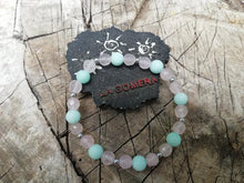 Handmade Flexible Bracelet Love and Anti Stress Protection Pink Quartz Amazonite Stones - LifeIsPureMagic