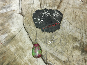 Energy and Vitality Ruby Zoisite Stone Silver 925 Talisman Necklace- Creative Amulet- Fertility Booster - LifeIsPureMagic