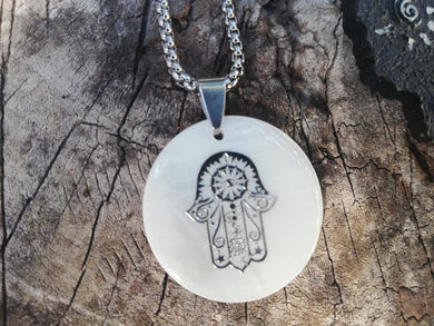 Protection Hamsa Fatima's Hand Shell Stainless Steel Talisman Necklace - Calming and Relaxing Jewelry - Spiritual Gift - LifeIsPureMagic