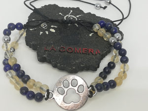 Unique Handmade Double Layered Braided Bracelet Citrine Lapis Lazuli Hematite Stones Dog Paw Charm - LifeIsPureMagic
