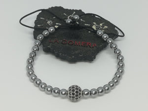 Unique Handmade Braided Bracelet Hematite Natural Stones Ball Micro Pave Zirconia Charm - LifeIsPureMagic