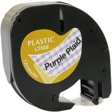 Load image into Gallery viewer, Prestige Cartridge™ Compatible Black on Purple Plaid Plastic Tape (12mm x 4m) for Dymo LetraTag LT110T, LT100H, LT100T, QX50, XR, XM, 2000, Plus - Prestige Cartridge