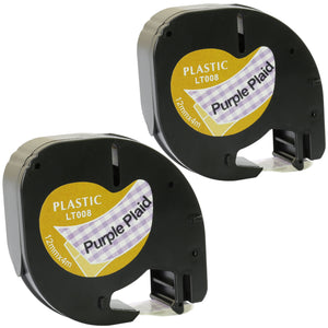 Prestige Cartridge™ Compatible Black on Purple Plaid Plastic Tape (12mm x 4m) for Dymo LetraTag LT110T, LT100H, LT100T, QX50, XR, XM, 2000, Plus - Prestige Cartridge
