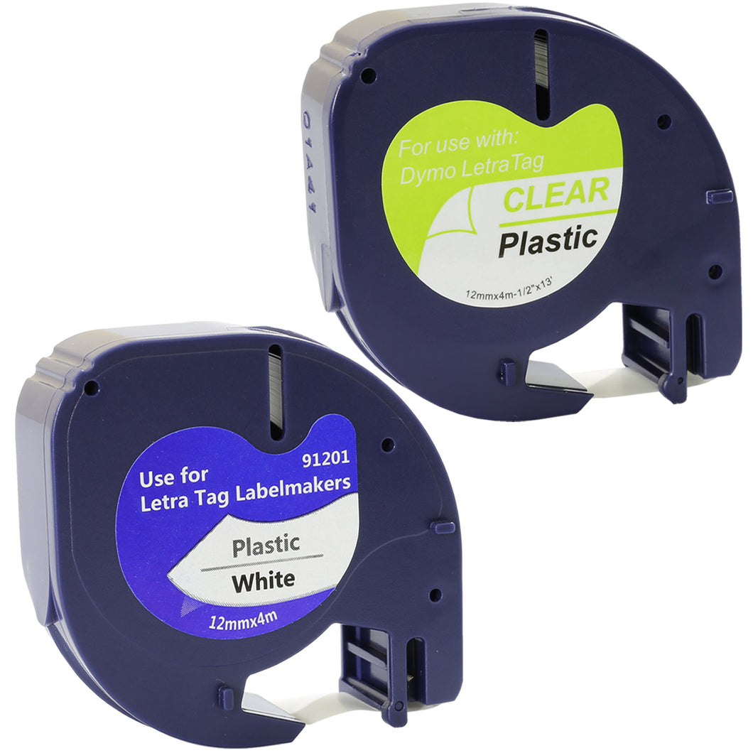 Prestige Cartridge™ 2x Compatible with Dymo LetraTag 91201 12267 Black on White/Transparent (12mm x 4m) Plastic Label Tapes for Dymo LetraTag LT-100H LT-100T LT-110T QX 50 XR XM 2000 Plus Label Makers - Prestige Cartridge