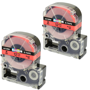 Prestige Cartridge™ Compatible AC12RW SC12RW Black on Red Label Tapes (12mm x 8m) for LabelWorks Printing Machines - Prestige Cartridge