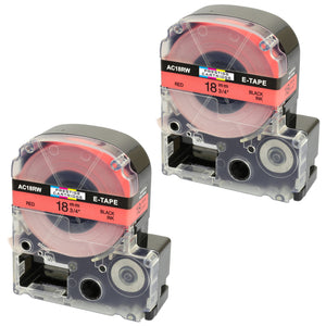 Prestige Cartridge™ Compatible AC18RW SC18RW Black on Red Label Tapes (18mm x 8m) for LabelWorks Printing Machines - Prestige Cartridge